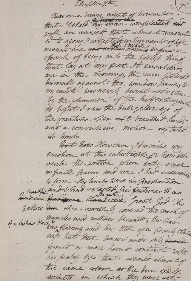 Creation section in Shelley's original draft